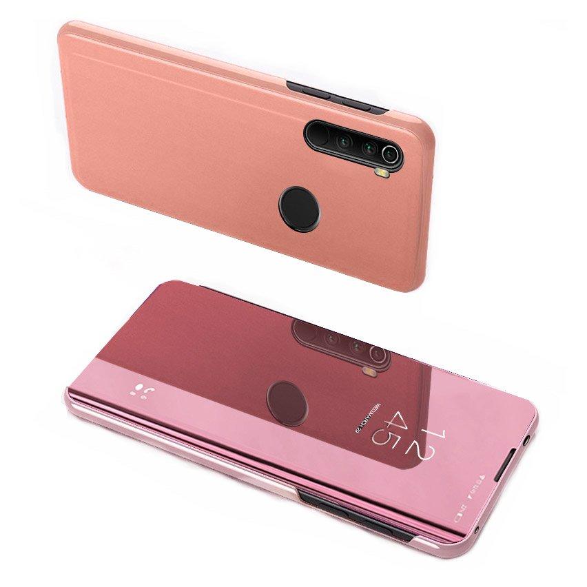 Knižkove púzdro pre Xiaomi Note 8T pink s priehľadnou prednou stranou