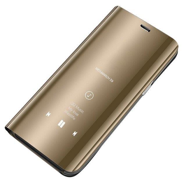 Knížkové pouzdro Huawei Y6 2019 golden s přední průhlednou stranou