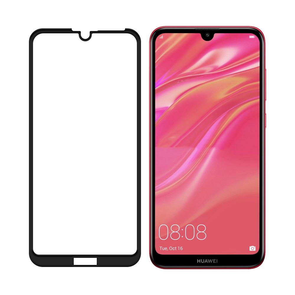 Celoplošné temperované tvrzené sklo na Huawei Y7 2019 black
