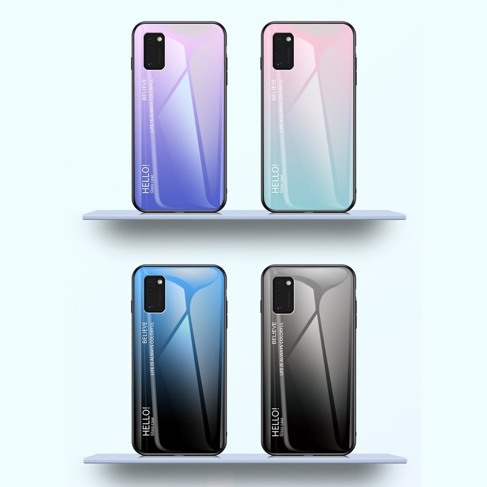 Gradient Glass tvrzené temperované sklo 9H na zadní část na Samsung Galaxy A41 green-purple