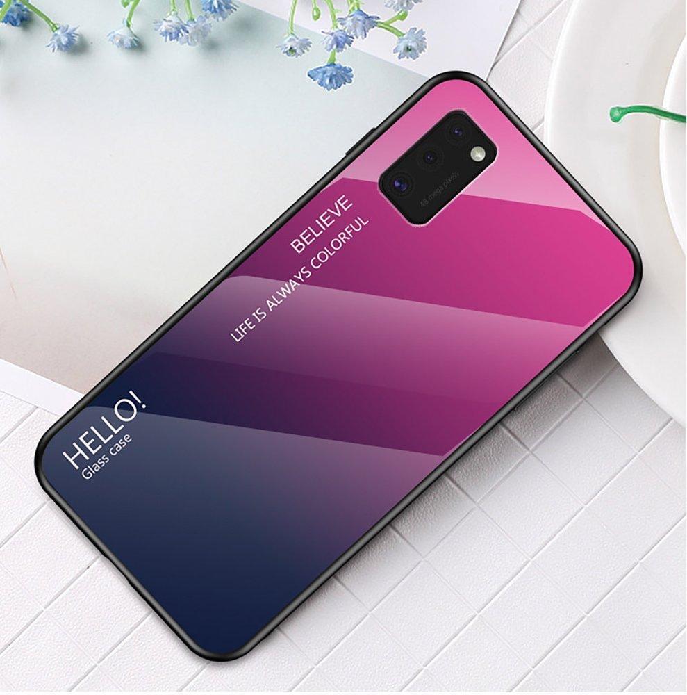Gradient Glass tvrzené temperované sklo 9H na zadní část na Samsung Galaxy A41 black-blue