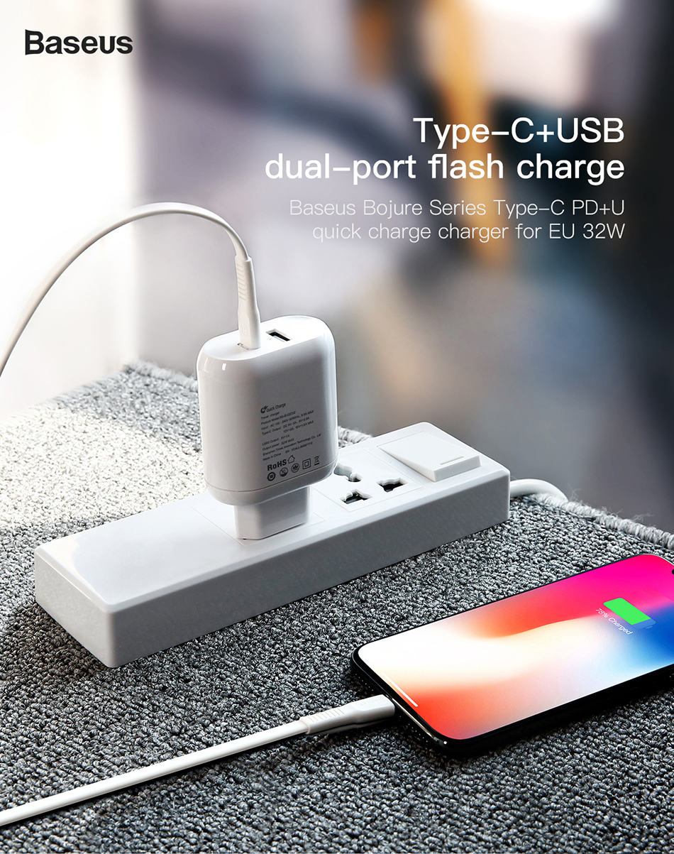 Baseus Bojure Travel Charger Adapter Usb C Pd 1a 32w Ccall Bg02 Flash Series Type 20 Cable 1m An Error Occurred