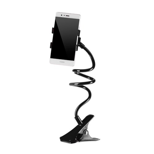 Universal cell phone lazy tube clip holder with flexible long arm black